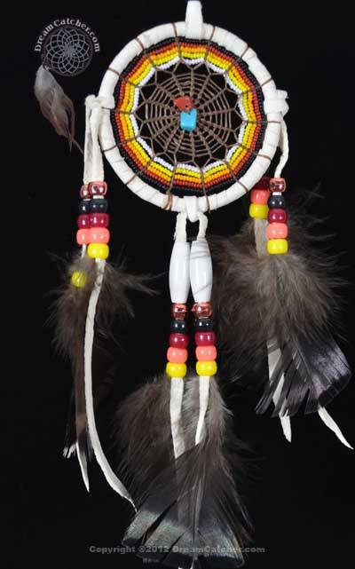 3 Inch Beaded Navajo Dream Catcher With Turquoise and Red Coral Beads