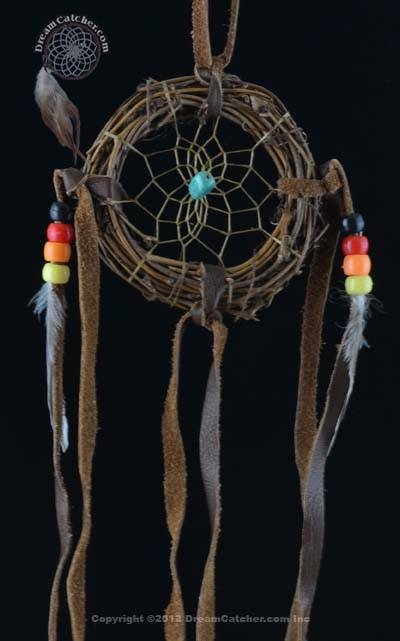3 Inch Navajo Vine Dream Catcher with Turquoise  Stone