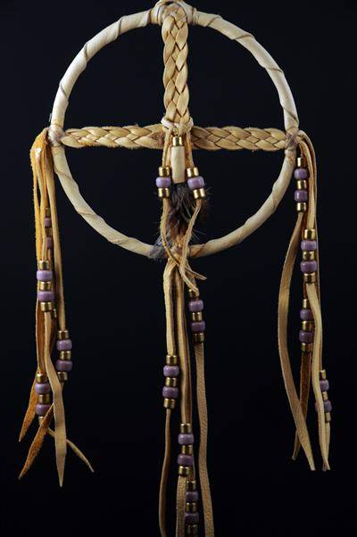 Braided Medicine Wheel with Purple Beads