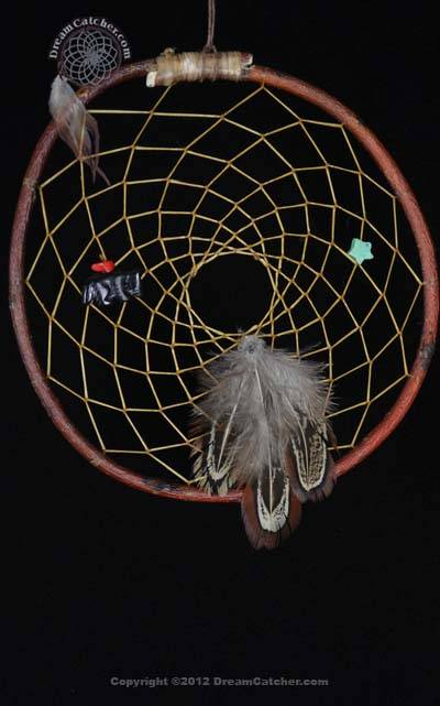 Authentic Red Willow Dreamcatcher with Turquoise Star and Stone Fox(6 Inch)