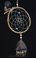 Natural vine dreamcatcher with turquoise stones