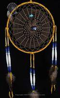 Triple Weave Navajo Dream Catcher with Blue Goldstone Bear(9 Inch)