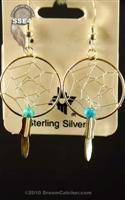 Sterling Silver Dream Catcehr Earrings with turquoise chip (3/4 inch)
