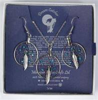 Silver dreamcatcher earring and pendant set