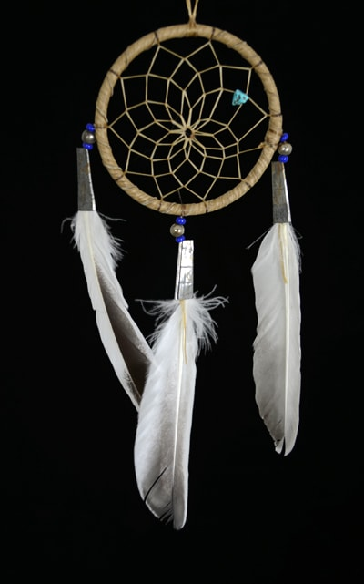Authentic 3 Inch Navajo Dream Catcher with Blue  Beads