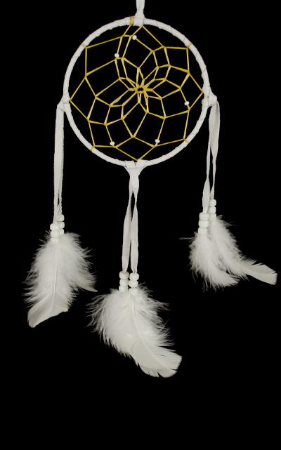 All White 5 Inch Navajo Dream Catcher  with certificate of Authenticity