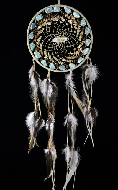 Tan Vision Seeker Cluster Dream Catcher with Aventurine, Jasper, Citrine and  Turquoise stones