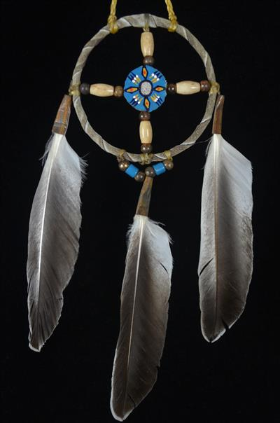 Navajo 4 Inch Medicine Wheel With Blue Painted Center