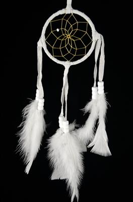 All White 3 Inch Navajo Dream Catcher  with Certificate of Authenticity