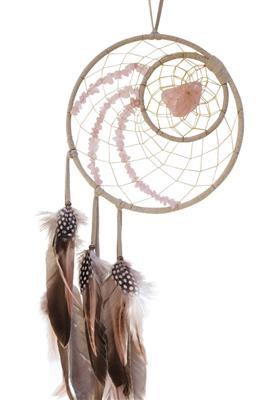 Woodland Dream Catcher with Rose Quartz Semi-Precious Stones in the Web