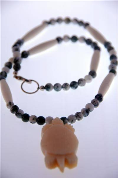 Hand Carved Moose Bone Turtle Necklace with Tree Agate Beads