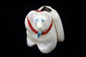 White Alabaster Bear with Necklace and Jet Arrow Bundle