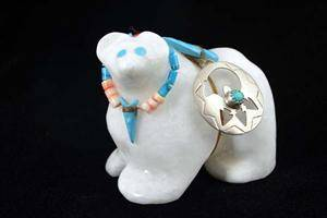 White Alabaster Bear With Silver Pendant