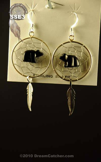 Sterling Silver Dream Catcher Earrings with black bear fetish