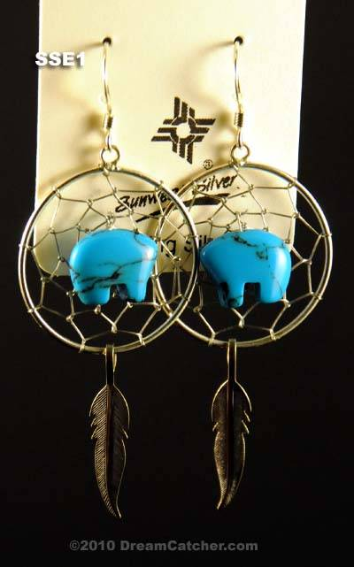 Sterling Silver Dream Catcher Earrings with turquoise bear fetish