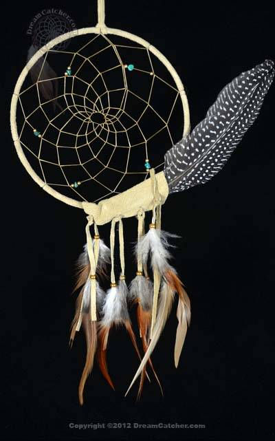 Tan Peaceful Dreamer Dreamcatcher With Spotted Feather
