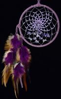 Purple Energy Flow Dream Catcher with amethyst semi-precious stones (4 Inch)