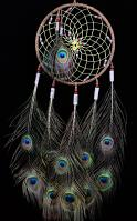 9 Inch Lakota Dream Catcher with Peacock Feathers and Glass Beads