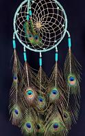 Teal Lakota Dream Catcher with Peacock Feathers and Glass Beads