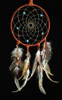 Adobe Dream Catcher with Turquoise and Red Coral (6 Inch)
