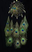 Black Leather Lakota Dream Catcher with Peacock Feathers and Glass Beads