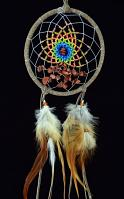 Brown Energy Flow Dream Catcher with Goldstone semi-precious stones (4 Inch)