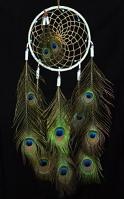 White  Leather Lakota Dream Catcher with Peacock Feathers and Glass Beads